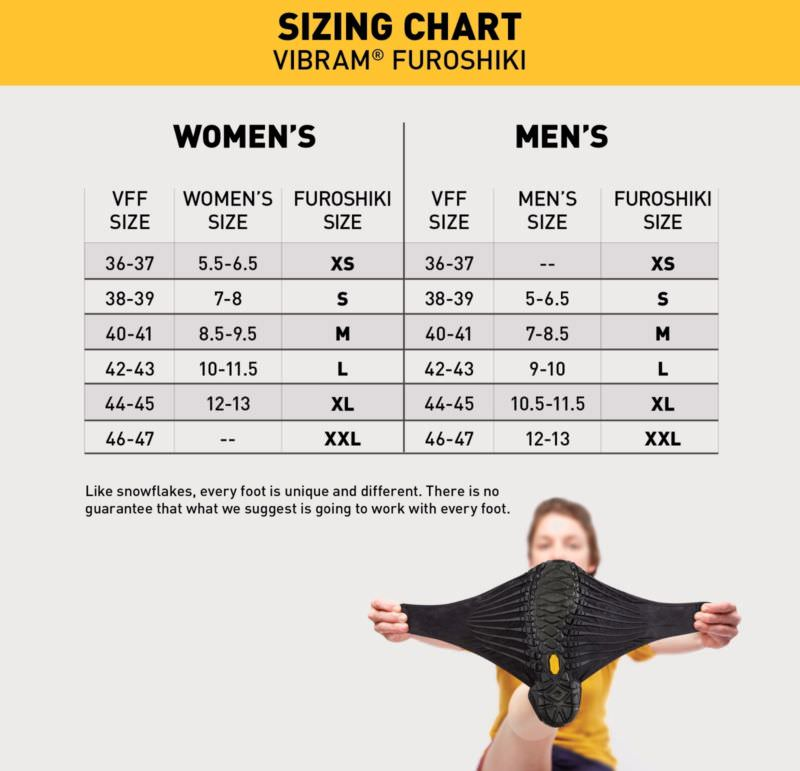 "sizing chart of Vibram furoshiki"" height="